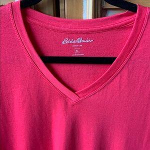 Eddie Bauer Pink V-Neck Tee Shirt XL, Short Slv